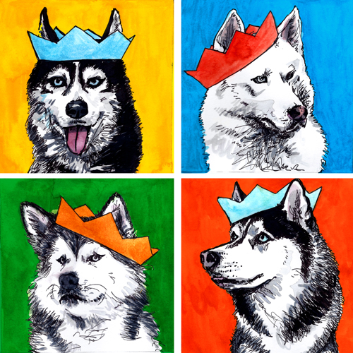 jenny robins - huskies in party hats
