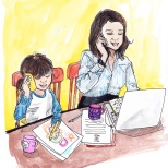 Jenny Robins - illustration - mother and daughter working together - Learning by example