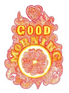jenny robins - typography - zentangle - goood morning