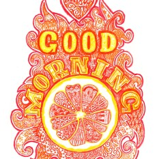 jenny robins - typography - zentangle - goood morning