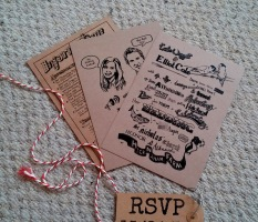 jenny robins - wedding invite - katie and elliot - brown paper packages tied up with string 2
