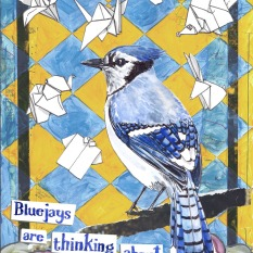 jenny robins - what birds are really thinking - bluejay - roses - origami