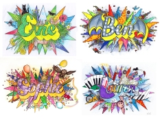 Name illustrations for Little Carousel Gallery, 2015
