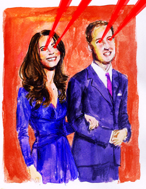 will and kate - jenny robins - photo - painting - laser eyes - prince william - kate middleton - duchess of cambridge