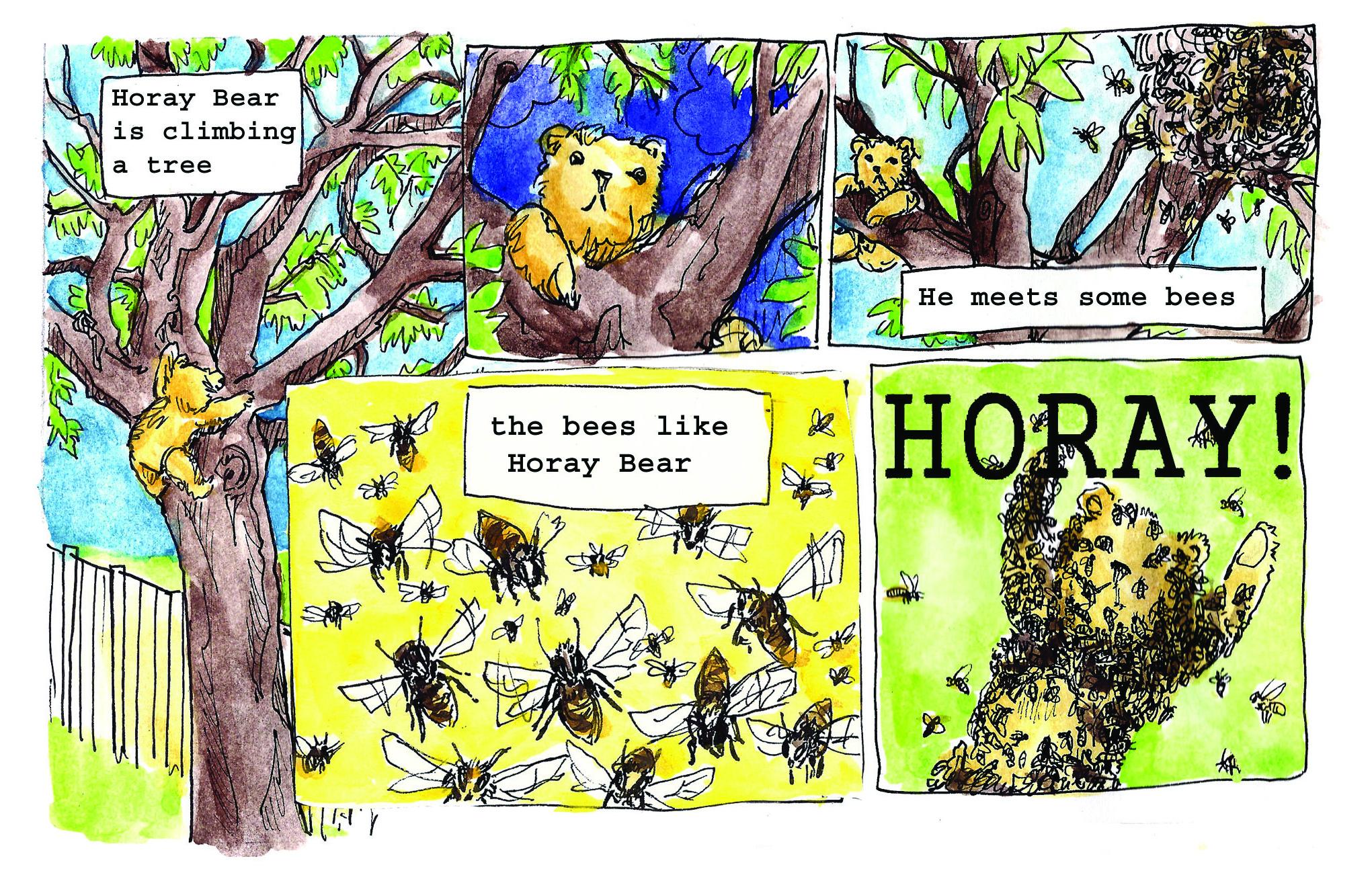 Jenny Robins - Alex George - Sunday Comics page - Horay Bear - bees