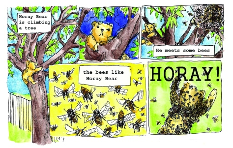 Jenny Robins - Alex George - Sunday Comics page - Horay Bear - bees