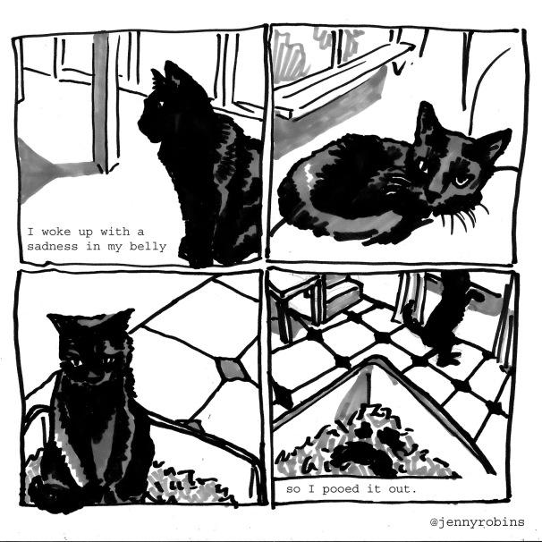 jenny robins - depression - poo - cat comc